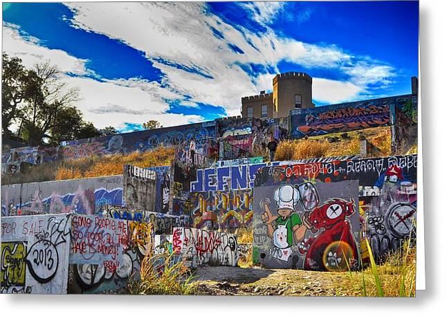 Austin Castle And Graffiti Hill Greeting Card