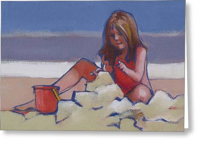 Castle Buiilding Sandcastles On The Beach Greeting Card