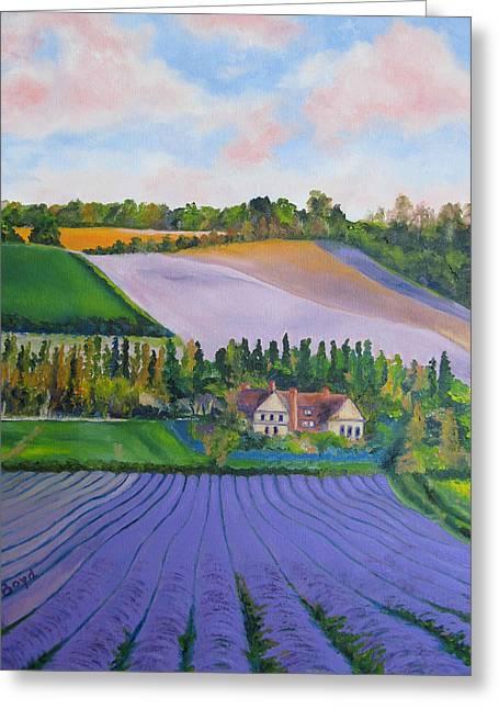 Castle Farm Shoreham Kent Lavender Fields England Greeting Card