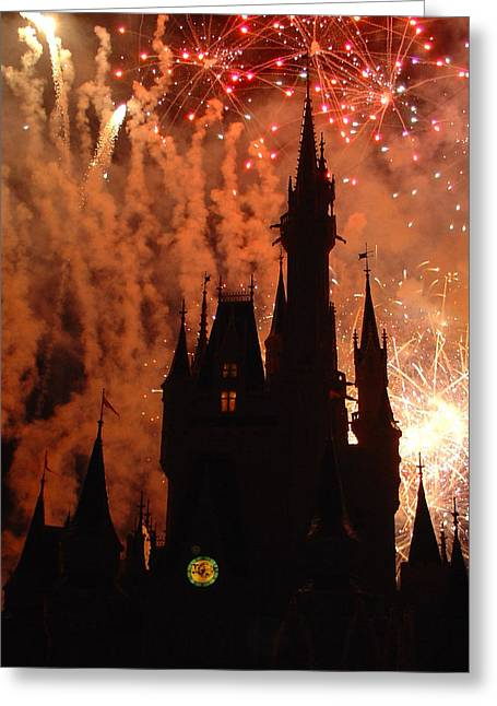 Greeting Card featuring the photograph Castle Fire Show by David Nicholls