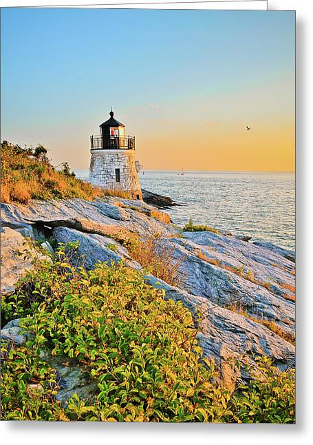 Castle Hill Lighthouse 1 Newport Greeting Card by Marianne Campolongo