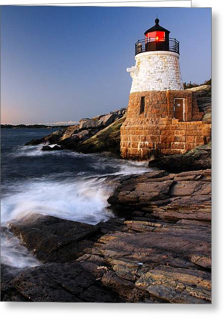 Greeting Card featuring the photograph Castle Hill Lighthouse Dusk by James Kirkikis