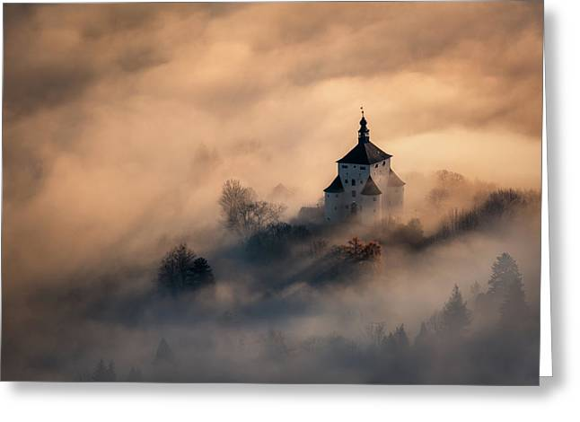 Castle In Fire Greeting Card