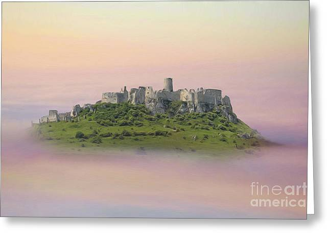 Castle In The Air. - Spis Castle Greeting Card by Martin Dzurjanik