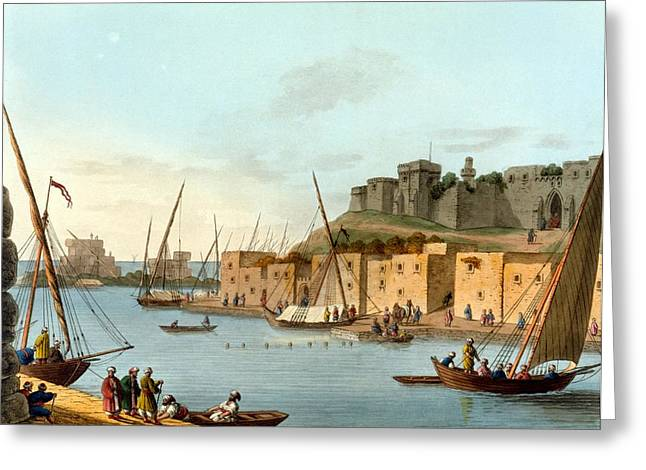 Castle In The Island Of Torosa Greeting Card by Luigi Mayer