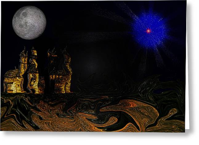 Castle In The Night Greeting Card by Ramon Martinez