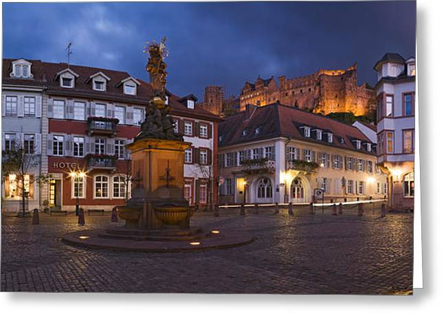 Castle In Town Square At Dusk Greeting Card