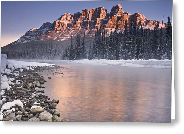 Castle Mountain And The Bow River Greeting Card