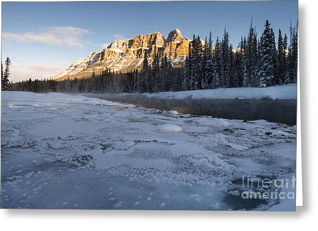 Castle Mountain Sunrise Greeting Card by Ginevre Smith