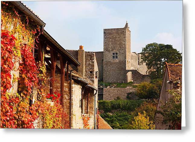 Castle On A Hill, Brancion, Maconnais Greeting Card by Panoramic Images