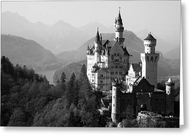 Castle On A Hill, Neuschwanstein Greeting Card by Panoramic Images