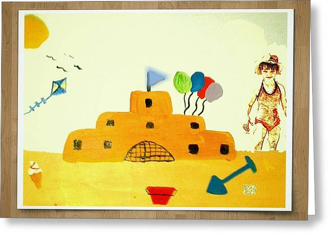Castle On The Beach Greeting Card by Julie Dunkley