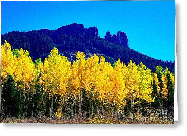 Autumn Castle Rock Aspens Greeting Card