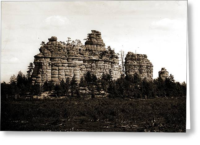 Castle Rocks, Camp Douglass Sic, Wis, Rock Formations Greeting Card by Litz Collection