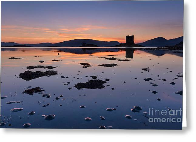 Loch Laich And Castle Stalker Greeting Card by Rod McLean