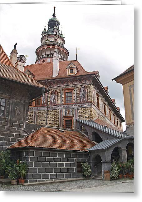 Castle Tower -- Ceske Krumlov Greeting Card by Monica Havelka