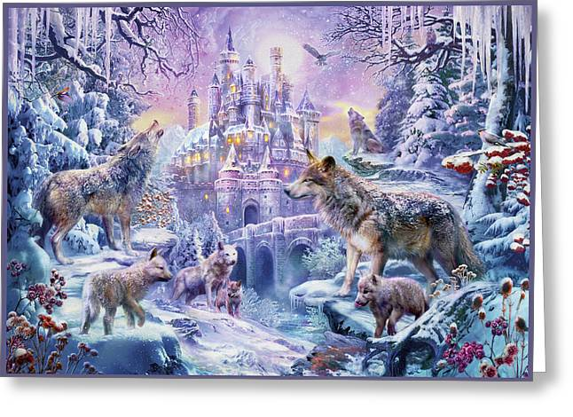 Castle Wolves Greeting Card