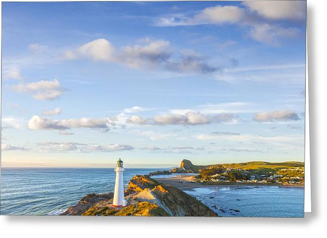 Castlepoint Lighthouse New Zealand. Greeting Card by Colin and Linda McKie