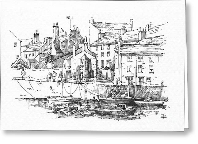 Greeting Card featuring the drawing Castletown Harbour by Paul Davenport