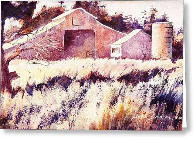 Greeting Card featuring the painting Castroville Barn by John  Svenson