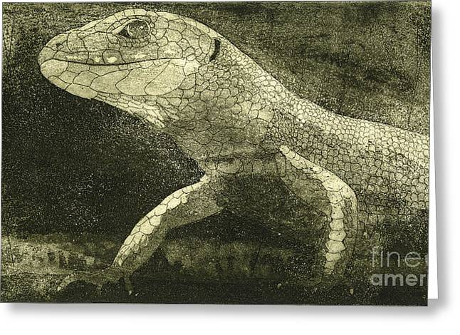 casual meeting Reptile Viviparous Lizard  Lacerta vivipara Greeting Card
