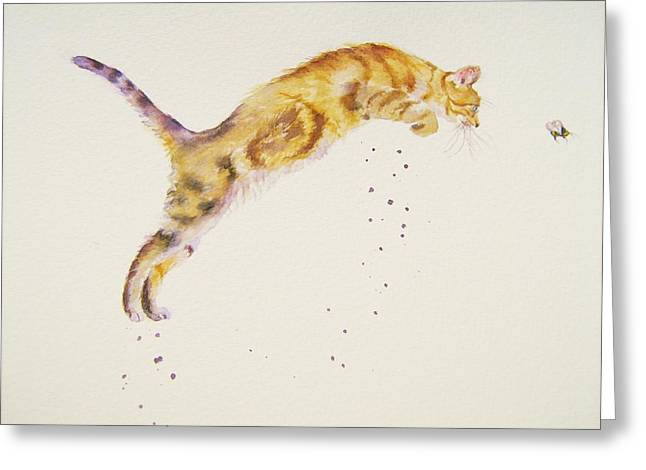 Cat-a-pult Greeting Card by Debra Hall