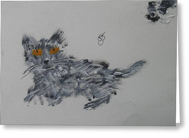Greeting Card featuring the painting Cat by AJ Brown