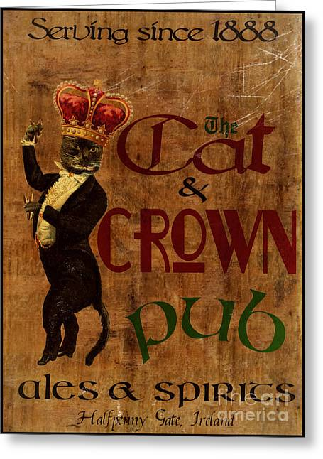 Cat And Crown Pub Greeting Card