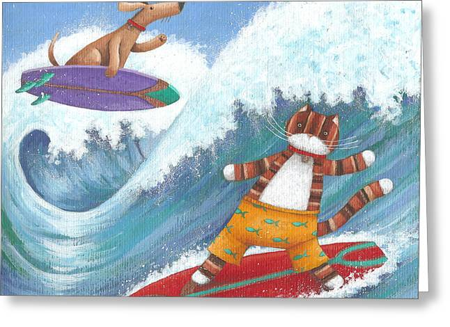 Cat And Dog Surfing Greeting Card by Peter Adderley