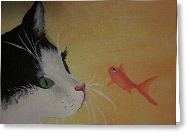 Cat And Fish Greeting Card by Cherie Sexsmith