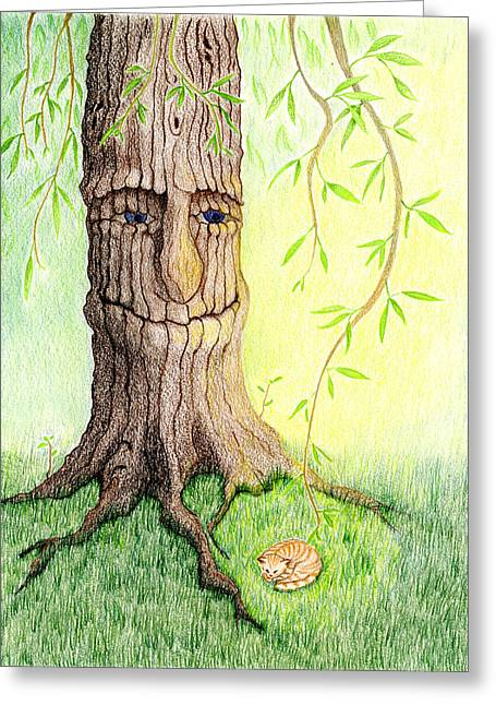 Cat And Great Mother Tree Greeting Card by Keiko Katsuta