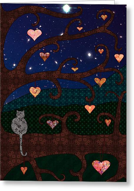 Cat And Hearts In Tree At Night Greeting Card by Cat Whipple
