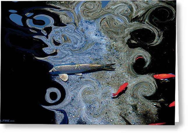 Cat And Koi Blue Greeting Card