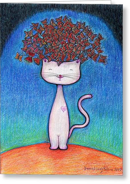 Cat And Monarcas Greeting Card by Daniel Levy policar