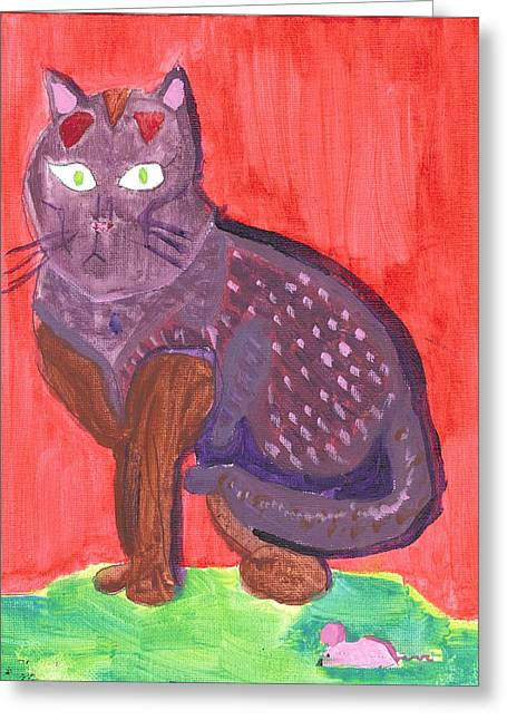 Greeting Card featuring the painting Cat And Mouse by Fred Hanna