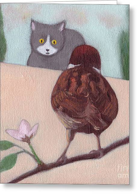 Cat And Sparrow  Greeting Card