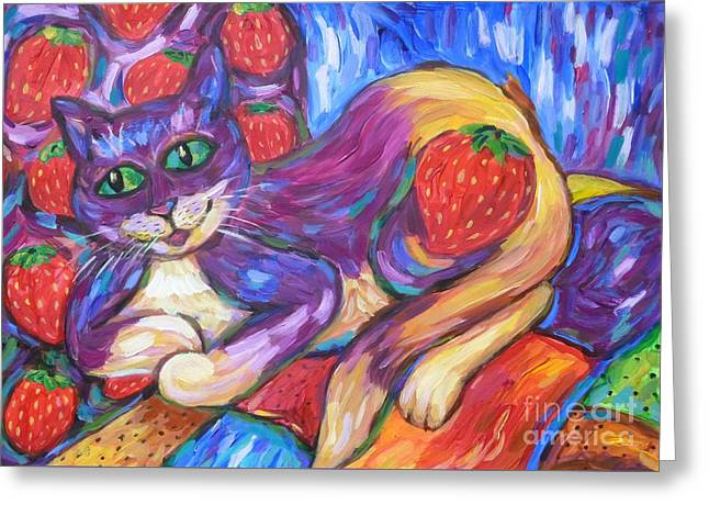 Greeting Card featuring the painting Cat And Strawberries by Dianne  Connolly