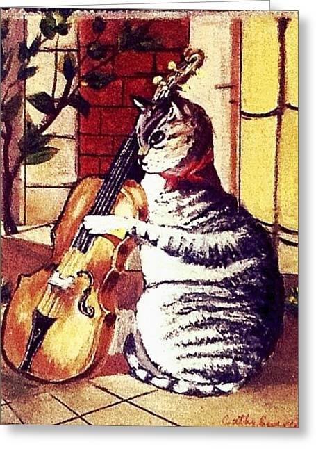 Cat And The Fiddle Greeting Card by Catherine Swerediuk