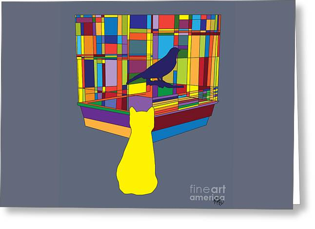 Greeting Card featuring the digital art Cat Bird Pop by Megan Dirsa-DuBois