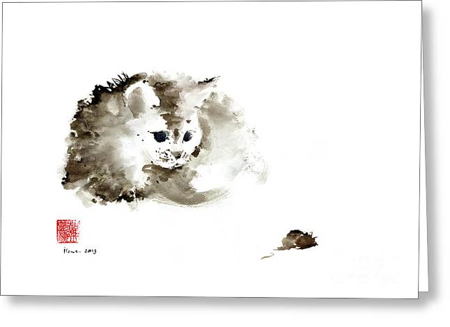 Cat Brown Grey Black Mouse Kitten Play Animal Animals Pet Pets Watercolor Painting Greeting Card by Johana Szmerdt