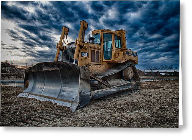 Cat Bulldozer Greeting Card by Mike Burgquist