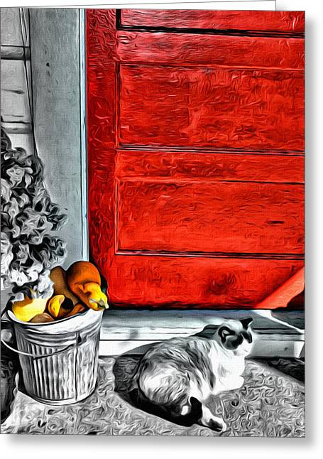 Cat By The Red Door Greeting Card