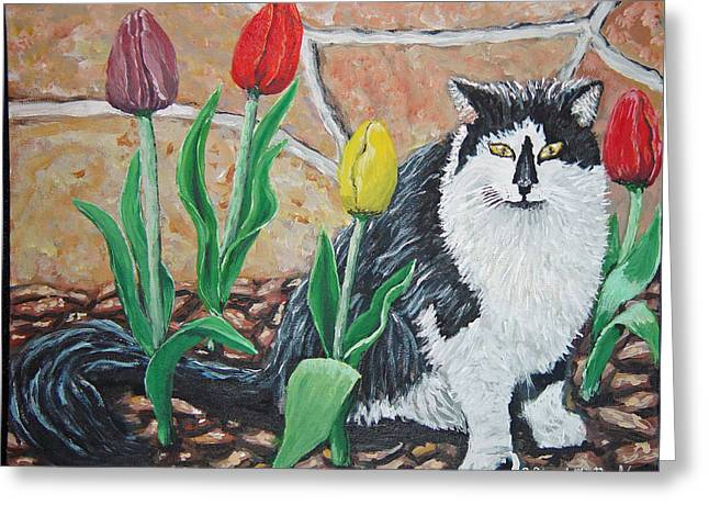 Cat By The Tulips  Greeting Card