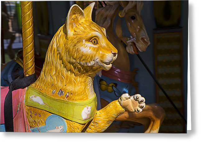 Cat Carrousel Ride Greeting Card by Garry Gay