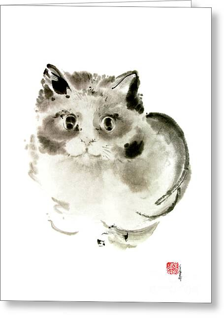 Cat Cats Kitten Funny Meow Animal Pet Ink Painting Greeting Card by Mariusz Szmerdt