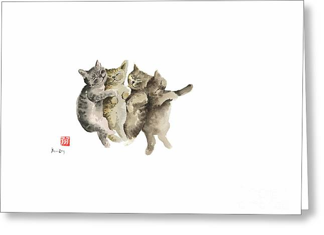 Cat Cats Photo Picture Brown Gray Little Funny Pic Meow Watercolor Painting Greeting Card