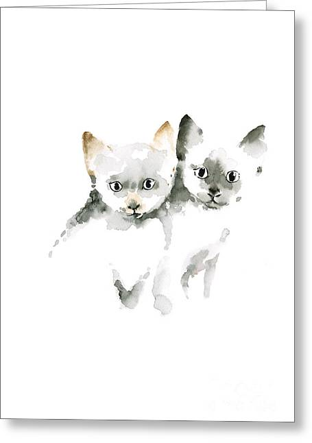 Cat Cats Photo Picture Brown Gray Little Funny Twins Pic Meow Watercolor Painting Greeting Card by Johana Szmerdt