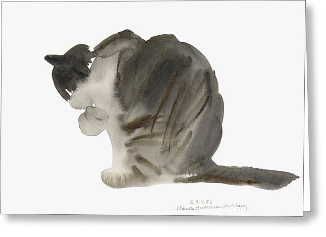 Cat Greeting Card by Claudia Hutchins-Puechavy