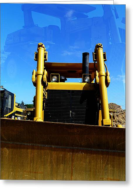 Cat Dreams Or Bull Dozer Greeting Card by Richard Reeve