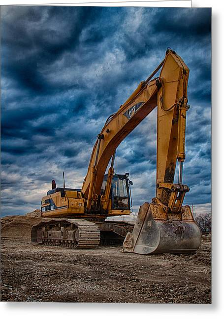 Cat Excavator Greeting Card